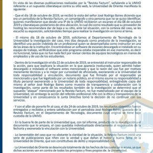 Comunicado oficial sobre la difamación de la revista FACTUM a la Univeridad de Oriente