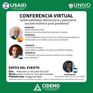 """Conferencia Virtual """"Gobernabilidad, democracia y panorama socioeconómico post pandemia"""""""