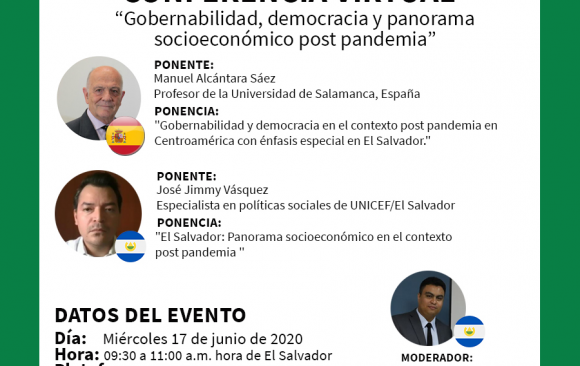 "Conferencia Virtual ""Gobernabilidad, democracia y panorama socioeconómico post pandemia"""